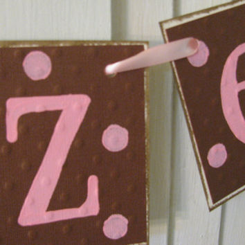 Personalized Name Banner with Polka Dots Custom Name Garland Adorable Nursery or Child Bedroom Decor