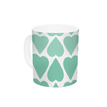 """Project M """"Mint Up and Down Hearts"""" Ceramic Coffee Mug"""