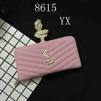YSL Women Fashion Leather Zipper Wallet Purse F-LLBPFSH Pink