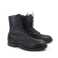 Combat Boots Vintage 1980s Steel toe Black Leather Lace Up Grunge Men's size 9 W