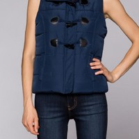 Women Cute Puffer Padded Hooded Fur Detail Vest Down Jacket Waistcoat