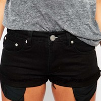 Liquor & Poker Low Rise Raw Edge Denim Short With Visible Pockets