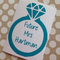 Future Mrs. Vinyl Decal With Diamond Ring | Monogram | Personalized | Wife | Preppy | Marriage | Diamond Ring | Bride To Be |