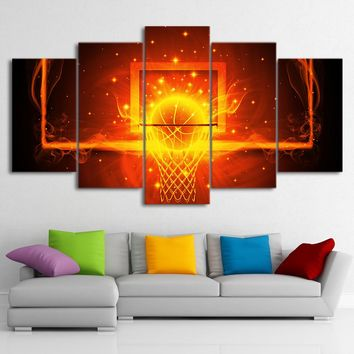 Canvas Pictures Home Decor Room 5 Pieces Fire Basketball Circle Backboard Paintings HD Prints Sports Poster Wall Art Framework