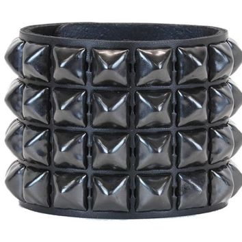 4 Row Black Pyramid Stud Quality Leather Wristband Cuff Bracelet