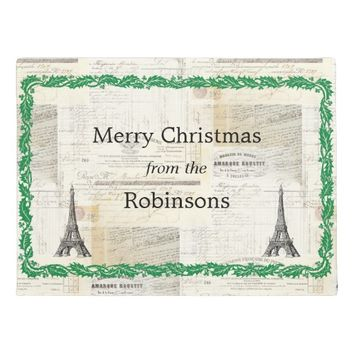 Vintage French Paris Personalized Christmas Mat Doormat