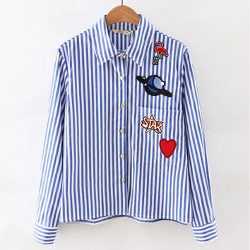Autumn Pattern Embroidery Stripes Long Sleeve Shirt [6332329476]