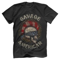 Savage Blind folded American skull flag Men's New t-shirt