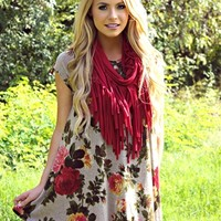 floral dress with cap sleeves