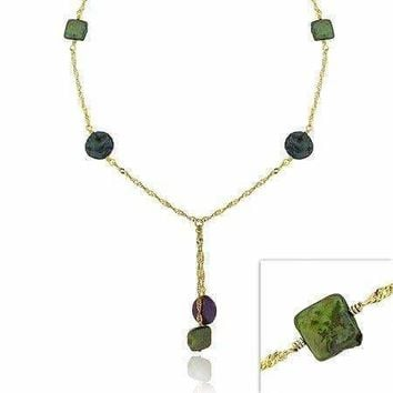 18K Gold over Sterling Silver Peacock & Green Freshwater Cultured Coin Pearl Lariat Necklace