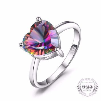 Rainbow Fire Mystic Topaz Heart Ring 925 Sterling Silver