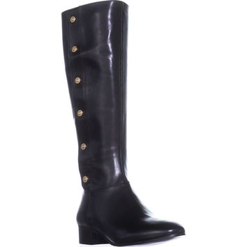 Nine West Oreyan Knee High Riding Boots, Black Leather, 7 US