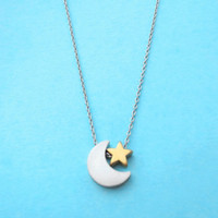 Silver crescent moon, Tiny gold star, Silver chain, Necklace