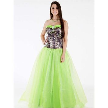 Sweetheart Lime Green Tulle A Line Floor Length Long Camo Bridesmaid Dress Camouflage Party Dresses