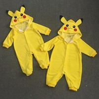 Baby Clothes Spring Autumn Hooded Pikachu Overalls Infant Romper Jumpsuits Newborn Baby Boy Girl Clothes
