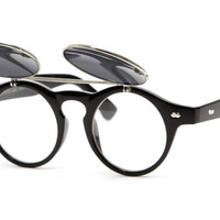 Inventor Round Vintage Clear Lens Sunglasses