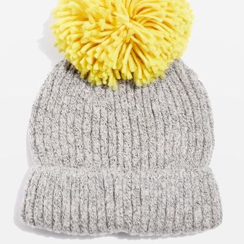 Big Knitted Pompom Beanie Hat - Winter, The Fashion Way - Clothing