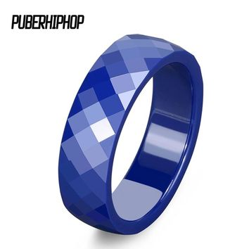 4mm,6mm Cut Surface Blue Ceramic Rings Pretty Never Fade Broken Exquisite Women Rings Engagement Promise Ring Jewelry Fashion
