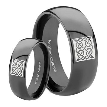 His Her Classic Dome Square Celtic Shiny Black Tungsten Wedding Rings Set