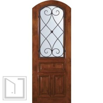 Slab Single Door 96 Wood Alder Charleston Arch Top Arch Lite