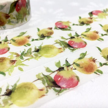 Pomegranate tape 10M fresh fruit WIDE washi tape yummy fruit Tropical Green fruits sticker tape fruit planner diary scrapbook gift