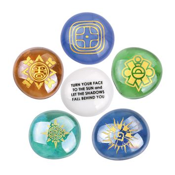 Mayan Sun Supernatural Powers Encouragement and Motivation Inspirational Amulets Glass Stones Set