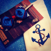 Anchor Onesuit and nautical headband set perfect gift
