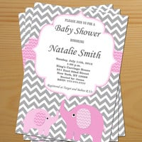 Baby Shower Invitation Elephant Baby Shower Invitation Girl Baby Shower Invitation Editable (82v) -Free Thank You Card - Instant Download