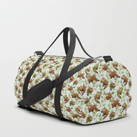Red Panda Pattern Duffle Bag by Tanyadraws