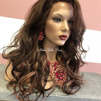 """Balayage' Brown Swiss lace front wig 16"""""""