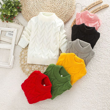 2016 Boy Girl Fashion Twisted Sweater Toddler Girls Thick Knitwear Child Kids Bottoming O-Neck Sweater Pullovers Winter Sweater