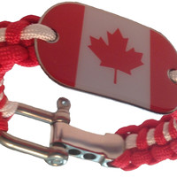 550 Paracord Dog Tag Bracelet Canada Canadian Maple Leaf Flag- Hand Made