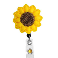 Sunflower - Name Badge Holder - Nurses Badge Holder - Cute Badge Reels - Unique ID Badge Holder - Felt Badge - RN Badge Reel - Retractable