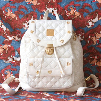 MCM White Ivory Quilt Large Backpack Authentic Vintage Handbag Rare