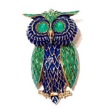Ciner Owl Pendant Brooch, Large Figural, Blue Green, Glass Cabochons, Gold Tone, Signed, Vintage 1960s, RARE, Ciner Jewelry