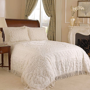King Size 100% Cotton Chenille Bedspread In White Ivory Light Beige Ecru With Fringe Sides