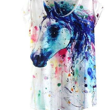 Summer Style Ink Painting Horse Pattern Print T-Shirt Women Summer Clothes  Round Collar Women T Shirt Female Tops