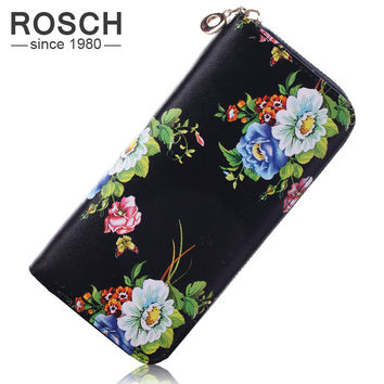 Hot New Floral Print Women Wallet Purse Flowers PU Leather Women Long Luxury Brand Wallet Female Cute Black Day Lady Clutch
