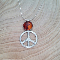 peace pendant, peace sign, sterling silver, peace handmade, peace necklace, amber stone, everyday jewelry, Friendship Gift