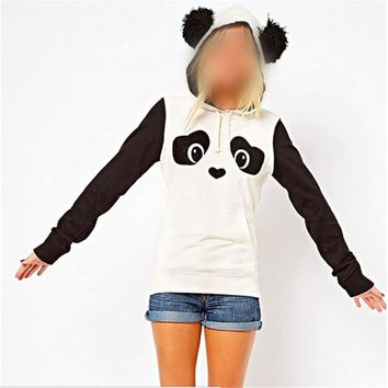 2017 Women Hippie Fleece Tops Pullover Hoodie Long Sleeve Loose Cute Panda Casual Character Girls  Black & White Clothes