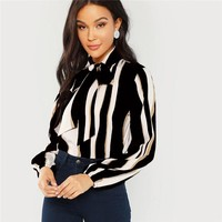 Multicolor Office Lady Tie Neck Striped Pullovers Workwear Blouse Long Sleeve Modern Lady Women Tops And Blouses