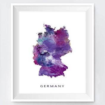 Germany Map, Art Print, Germany Watercolor, Berlin Artwork, Printable, Wall Art, Modern, Urban, State Map, Gift, Office Home Decor, Download