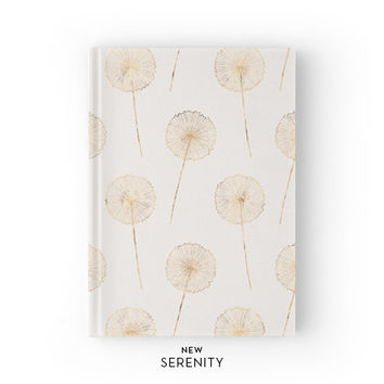 Hardcover Journal / Hardcover Notebook - Dandelion, Faux Rose Gold, Floral, Ivory, Gift for Her, NewSerenityStudio
