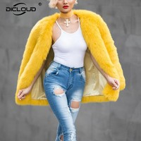Eye Catching Yellow Faux Fur Coats Jackets Thicken Warm Women Winter Jacket Coat Fashion Outerwear for Women Ladies Overcoats