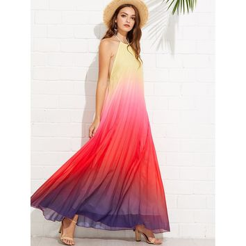 Ombre Halter Neck Backless Maxi Dress