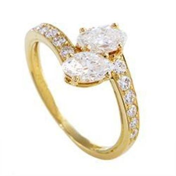 ESB3DS Cartier Yellow Gold Marquise and Round Diamond Ring