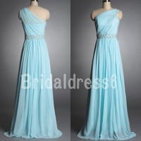 Bead Ice Blue Sheer One-Shoulder Strapless A-Line Long Bridesmaid Celebrity Dress, Floor Length Chiffon Formal Evening Prom Homecoming Dress