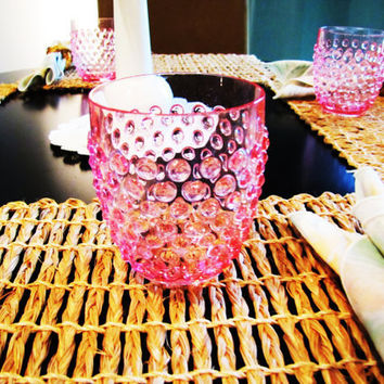vintage pink acrylic hobnail drinking glasses, set of 4