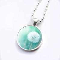 Dandelion necklace glass tile pendant dandelion photo pendant nature glass dome necklace dandelion jewelry photography necklace teal mint