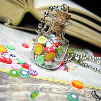 Jar of Clay Fruits - Square Glass Bottle Necklace - Cork Vial Pendant - Kawaii Fruity Charm